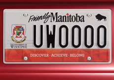 UWinnipeg license plate