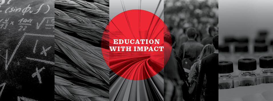"images and text saying ""Education with Impact"" and ""Build the Future"""