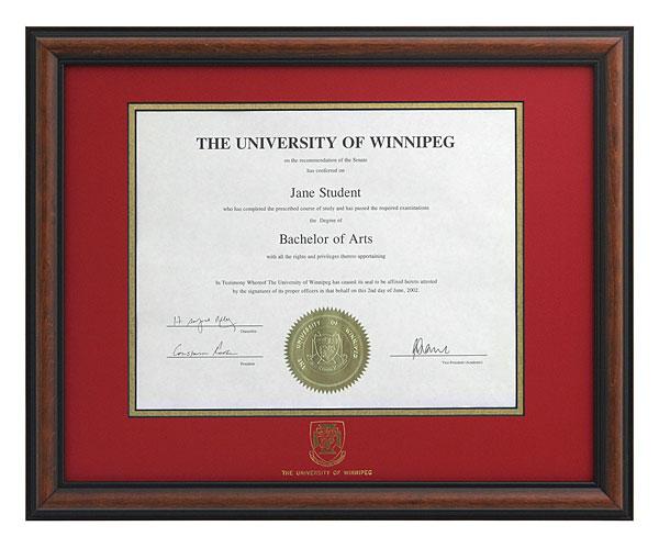 Degree Frames | Alumni | The University of Winnipeg