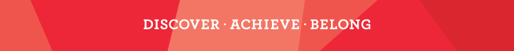 Discover Achieve Belong tagline on patterned background